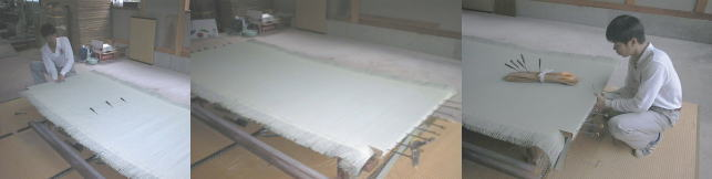 畳床を反らし畳表を待ち針で張り付ける縫いとめます。