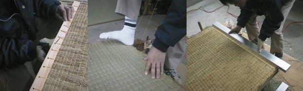 框板を縫いとめ、裏返して足で蹴りながら糸を締めます。