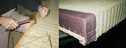 ワラで厚みを調節しながら畳縁、畳表を縫い付けて完成です。